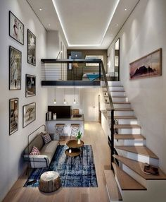 Lovely small loft apartment inspo What do you think about this interior? - - - Designed by BLOK Loft Interior Design, Home Room Design, Loft Design, Small House Design, Modern House Design, Luxury Interior, Loft Apartment Decorating, Apartment Layout, Apartment Design