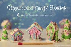 Pixie Dust Miniatures: Gingerbread Candy Village porcelana fria polymer clay pasta francesa masa flexible fimo figurine topper fondant gum paste