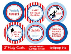 Mary Poppins Printable Party Circles DIY Mary by LollipopInk, $10.00
