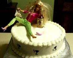 Drunk Barbie Made for a friend butter cream cake edible paper martini glasses on the sides 40th Cake, 21st Birthday Cakes, Rodjendanske Torte, Buttercream Cake, Gag Gifts, Let Them Eat Cake, Cake Decorating, Barbie, Sweets