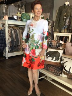 December Joseph Ribkoff botanical stunner of a dress that our Shepherd's Staff have all fallen in love with! Summer Outfits, Summer Dresses, Joseph, December, Cold Shoulder Dress, Inspire, Inspiration, Fashion, Style