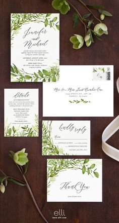 Now trending - gorgeous greenery wedding invitation suite.