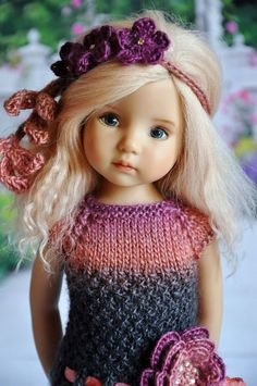 """OOAK OUTFIT FOR DOLLS Little Darlings Effner 13"""". From Russia. Knit from an Italian merino wool and natural silk blend. Roses hair band, dress and floral clip."""