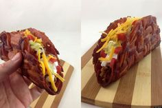 I might give up being a vegan for just on hour to eat this! Pure delicious evil! A BACON TACO SHELL. Need we say more? No, not really!!!!