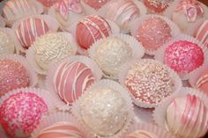 pink and white girly cake pops | pink and white cake balls