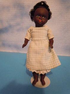 """6.5""""  Kestner Black All Bisque Girl Bare Feet Swivel Neck All Original - $ 1,695"""