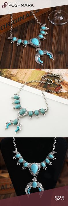 Boho turquoise crescent necklace✌ Gorgeous NEW boho faux turquoise crescent necklace. ✨ Check our my other listings for more amazing boho items for women and children.  Bundle and pay only once for shipping, plus get an additional discount!  The more you bundle the more you save!  Jewelry Necklaces