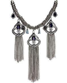 Maxi colar prateado com franja e pedraria azul Persia