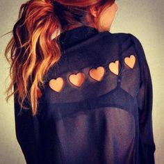 Sheer heart cut-out shirt.