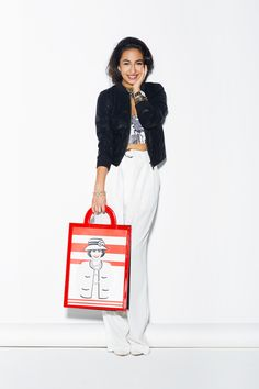 Jil Sander top, Céline pants, vintage Chanel bag from What Goes Around Comes Around, Dior earrings, Anndra Neen necklace, Casadei shoes.