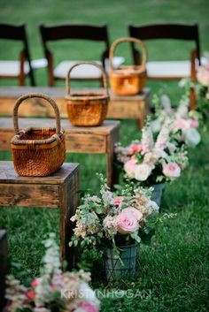 pink and peach wedding - Southern Weddings Wedding aisle with galvanized buckets of floral, wooden benches, pews, baskets Wedding Bench, Rustic Wedding, Wedding Ceremony, Our Wedding, Dream Wedding, Gothic Wedding, Summer Wedding, Wedding Ring, Aisle Flowers