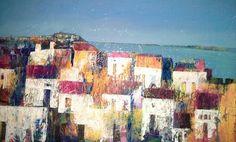 Case sul mare 70x50 cm Luigi Torre painter 2015 City Landscape, Luigi, Opera, Artwork, Artist, Rocks, Paintings, Country, House