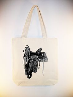 Vintage Ornate Western Saddle Illustration Canvas Tote - larger zip top tote style and personalization available