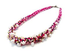 Fuchsia Wool Necklace with fresh water Pearls. In Bloom Collection