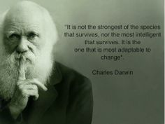 It's not the stronages of the species that survives, nor the most inteligent that survives.  It is the one that is most adapable to change.  ~Charles Darvin