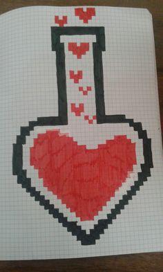 Love Graph Paper Drawings, Graph Paper Art, Love Drawings, Art Drawings, Cross Stitch Designs, Cross Stitch Patterns, Modele Pixel Art, Pixel Drawing, Art Perle