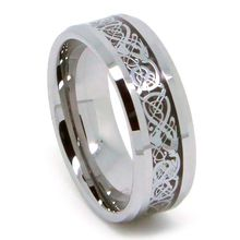 High quality tungsten ring, Silver Dragon Ring, High End Design, Bevel Edge. Perfect for any occassions.  Material: Tungsten Carbide  Features: Scratch resistant, extremely hard, 4 times harder than titanium.  It's built to last. However, it might crack if stuck at high impact  Width dimensions: 8mm