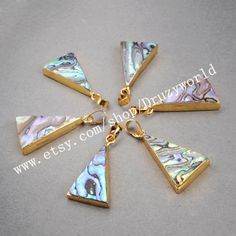 Discount Listing 3&5Pcs Gold Plated Triangle Boho Abalone Shell Pendant Bead Golden Plating Rainbow Shell Pendant Peacock Shell JewelryG0464 by Druzyworld on Etsy