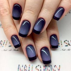 Awesome Ideas for Black French Manicure ★ See more: https://naildesignsjournal.com/black-french-manicure/ #nails