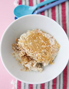 Coconut Cream Baked Oatmeal on Weelicious. Easy. Next time less water.