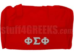 Cardinal red Phi Sigma Phi duffel bag with Greek letters across the front. It has enough room for a day at the gym or an overnight adventure.