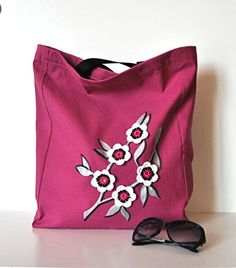 Canvas Tote bag with long handles in Purple Fabric with handpainted silver tree decor and crochet flowers applied Handmade in Italy ** You can get more details by clicking on the image.-It is an affiliate link to Amazon.