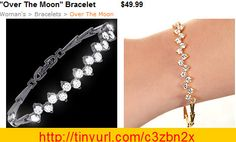 """You'll be """"Over the Moon"""" wearing this great bracelet crowned with a zig zag of dazzling cubic zirconia.  Centered on a slender linked designer chain, featuring a secure fold over clasp, this beguiling bracelet is available in a finish of rich rhodium, gleaming gold or black hematite.     7"""", 7.5"""" or 8"""" Bracelet.  Nickel and lead free."""
