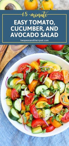 Tomato, Cucumber, and Avocado Salad is a showstopper! Loaded with the best ingredients of summer, this salad idea is a great side dish to any meal. Easy to make in just 15 minutes, this recipe will become a staple in your house this summer! Pin this for later! Green Salad Recipes, Healthy Salad Recipes, Raw Food Recipes, Easy Dinner Recipes, Healthy Foods, Yummy Recipes, Dinner Ideas, Recipies, Easy Salads