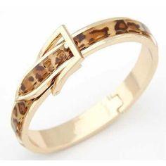 Gold Leopard Buckle Bangle