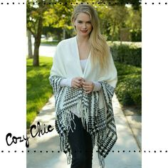 "**25% OFF**HPQuilted Tassel Poncho On trend black and white quilted tassel poncho. Keep warm and remain chic!!!!  Great color to transition to Spring. Dimensions 49""x 51"". 100% acrylic.***PLEASE DO NOT PURCHASE THIS LISTING. I WILL MAKE YOU A PERSONAL LISTING *** Boutique Sweaters Shrugs & Ponchos"
