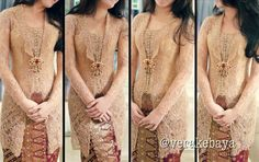 Vera kebaya, cream, brown, semi kutu baru, kancing depan, brokat
