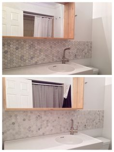 Without and with grout, marble hex tile bathroom backsplash