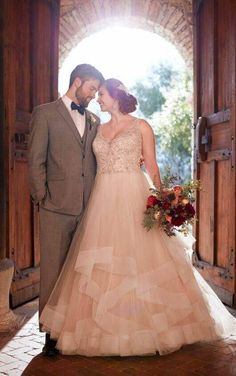 D2259+ Plus Size Beaded Strap Wedding Dress with Full Textured Skirt by Essense of Australia