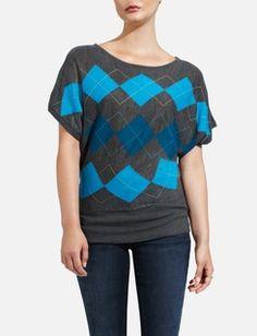 Argyle Dolman-Sleeve Sweater