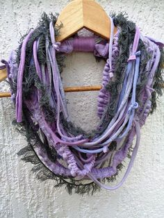 BEAUTIFUL, ABSTRACT, ONE OF A KIND, HANDMADE, SCARF NECKLACE Product description:  Handmade, multi-strands hand cutted cotton stripes and various