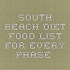 South Beach Diet food list for every phase.