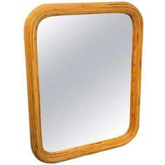 split bamboo mirror, of rectangular from with rounded corners, complete with new x mirror plate. Mirror Plates, Wall Mirror, Bamboo Mirror, Round Corner, West Palm, Unique Art, Mid-century Modern, 1970s, Mid Century