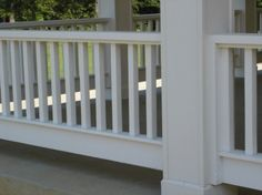 Porch railings - The stiles are in between 1x4s & those are in between 2x6s. A time consuming part was fitting them in between the columns. ...
