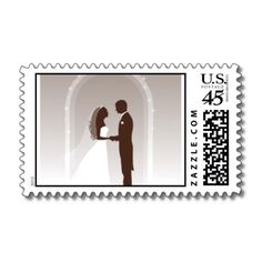 Bride and Groom Postage in brown and a very faint gray background.   $22.35  per sheet of 20  You can purchase this stamps by clicking this link. http://www.zazzle.com/blossomcards