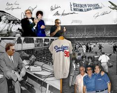 """16-image 8""""x10"""" digital photomontage by artist Nancy Gershman, Art For Your Sake.  For his 75th blowout, Charlie appears as a sports announcer at Dodger Stadium witnessing the World Series victory (along with his WWII buddies, then and now). In the bleachers, grandfather Charlie enjoys two ice cream cones alongside a younger version of himself clapping in black tie next to wife Ann. The Dodger Stadium scene, including the authentic  uniform is pieced together from (6) archival photos."""
