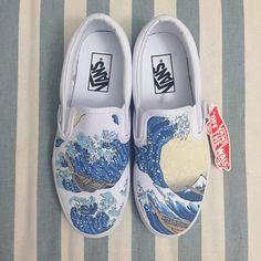 Hand-Painted Custom Vans - Great Wave Off Kanagawa