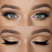 Beautiful shimmery bronze/light gold look - Make-Up Looks - Eye Makeup Natural Wedding Makeup, Bridal Makeup, Natural Makeup, Natural Eyeliner, Organic Makeup, Dark Blue Hair, Hair Color Blue, Hair Colors, Brown Hair