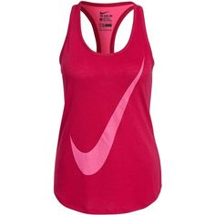 Nike Flow Swoosh Tank ($23) ❤ liked on Polyvore featuring tops, berry, sports fashion, vests, womens-fashion, nike tank, sports tank, racerback tank, nike vest and pink racerback tank top
