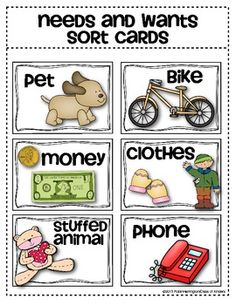 Needs and Wants Sorting Cards {Social Studies for Young Students}. $