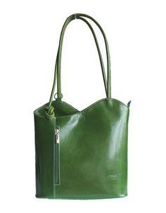 Multi-Way Green Leather Shoulder Bag/Backpack Leather Shoulder Bag, Shoulder Bags, Backpack Bags, Tote Bag, Italian Women, Lush Green, Green Leather, Italian Leather, Backpacks