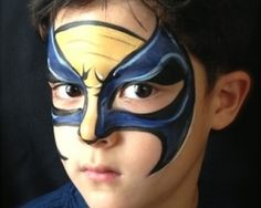 Boy wolverine face painting!