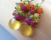 Yellow Pink Chalcedony, green Peridot, olive Jade, orange Carnelian oxidized sterling silver wire wrapped earrings. Autumn. Fall fashion