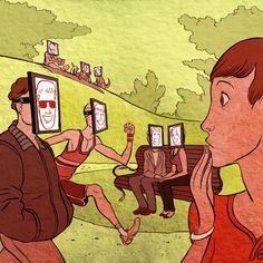 B1-B2: ¿Mostramos nuestra mejor cara en las redes sociales? ¿o se trata en cambio de hipocresía? ¿Nos mostramos en la realidad igual que en las redes sociales? ¿o no somos tan amables y felices? Reflexiona. (Ilustración de Koren Shadmi)
