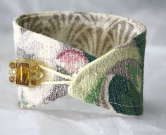 Textile Fabric Bracelet Wrist Cuff Flower Elegance Bark Cloth  $55