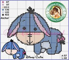 Turma do Pooh Disney Stitch, Tiny Cross Stitch, Cross Stitch Charts, Cross Stitching, Cross Stitch Embroidery, Crochet Baby Mobiles, Pixel Crochet, Disney Cross Stitch Patterns, Cross Stitch Pictures